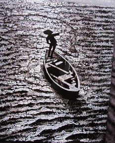 Eggshells fisherman picture on lacquered panel - Vietnam - Second half of the 20th century.