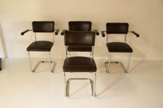Attributed to Mertens - 4 tubular frame chairs
