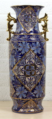 Polychrome blue porcelain vase with gold-coloured decorations - China - 2nd half 20th century