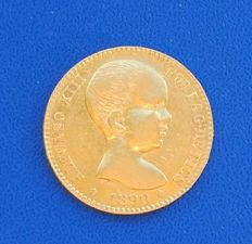 Spain - 20 gold pesetas, Alfonso XIII, 1890 *18*90 Madrid, MP M