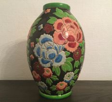 Charles Catteau for Boch Keramis - Art Deco earthenware decorative vase with enameled decorations of peonies