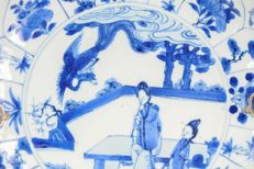 Porcelain Kangxi Serving plate with silver, Figures  Birds Fenghuang- China  - ca 1690