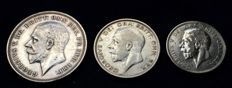 United Kingdom - Florin 1928, ½ Crown 1931 and Crown 1935, George V (3 pieces) - silver