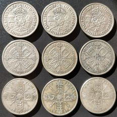 United Kingdom - Florins (Two Shillings) 1920/1944 George V and VI (9 pieces) - silver