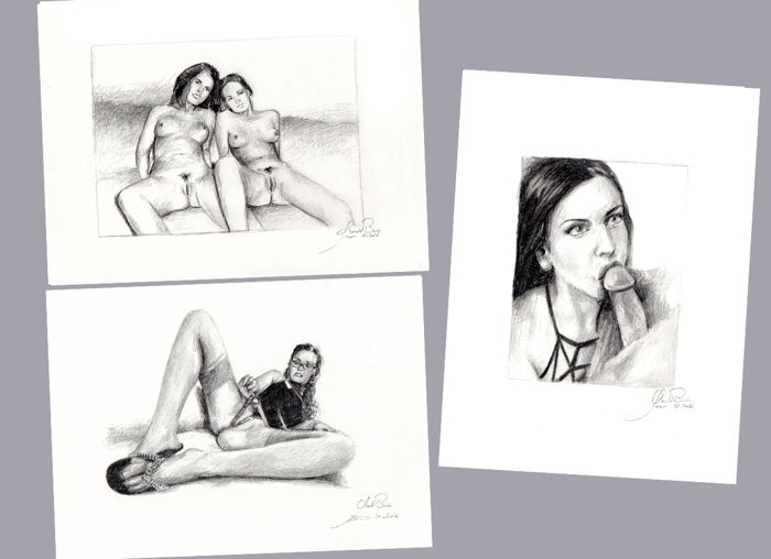 Original artwork; 3 female nude portraits by Gerald Baes - 2016.