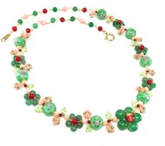 18K Necklace Vetro di Murano Green Aventurine Flower Rose and Red Coral
