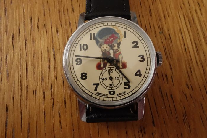 POBEDA VERY RARE Belka and Strelka the first astronauts Hand Watch Made in USSR