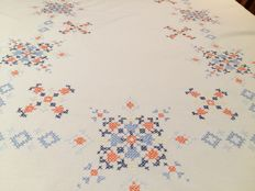 Antique tablecloth handmade with the cross stitch technique Measurements: 125 x 145 cm