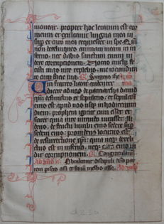 Manuscript; Original page from a handwriting - 14th century