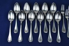 Delheid Brothers 19th Century (Post 1868) Silver 800/1000 Decorative Flatware - 10 Forks + 11 Spoons Total 21pcs