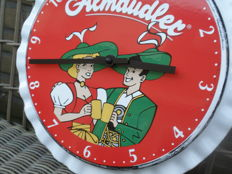 Very rare enamel clock (uhr) by ALMDUDLER with the image of Marianne and Jacob