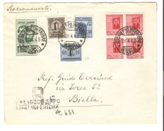 Italy 1944 - RSI mixed postage, cancelled on letter with registered mail tariff, from Occhieppo to Biella