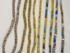 5 Strings of mixed nice Old decorated glass Krobo and a few Venetian Trade Beads