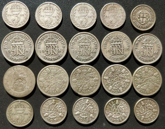 United Kingdom - 3 Pence and 6 Pence 1916/1946 George V and VI (20 pieces) - silver