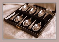Sterling silver set of six George V tea spoons in case, Alexander Clark & Co. Ltd., Birmingham, 1918