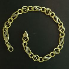 Two-tone 18 kt gold bracelet, weight: 5.7 g, 205 mm length