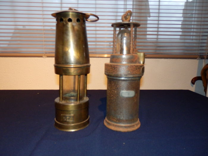 2 very old antique miner's lamps from Belgium