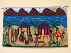 Tapestry, Guajiro Indians, Colombia - Weaven and Embroidered Tapestry by Guajiro Indians A tribe living between Colombia and Venezuela