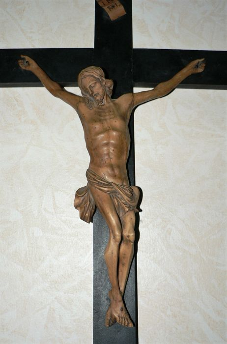 Large crucifix with carved wooden Corpus Christi, lime wood - Flemish Ardennes - (Belgium) - 18° century.