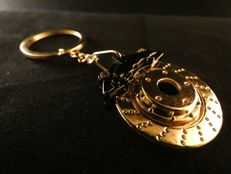 24 carat gold Mercedes Benz star - key chain - brake disc
