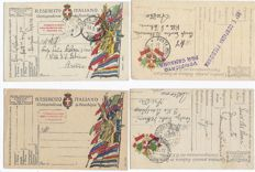 Lot of 20 postage-paid Italian postcards from 1915/1918