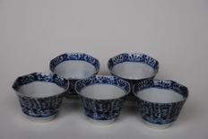 5 octagonal cups - China - 19th century