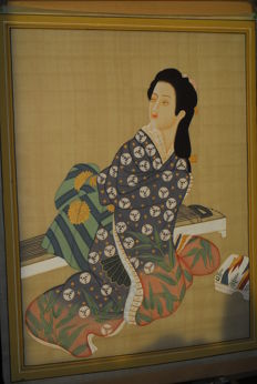 Two large silk paintings with Japanese image - India - second half of the 20th century (105cm)