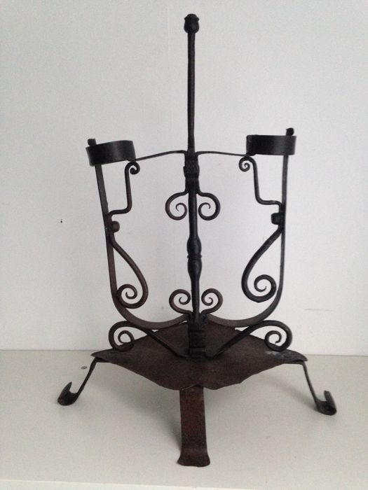 Wrought iron bog-wood candlestick 16th or 17th century