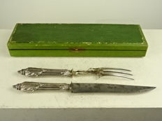 Antique meat serving knife and fork with silver handles - France - late 19th century