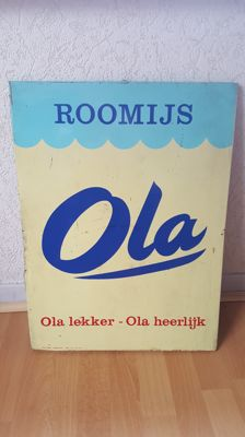 Ola roomijs tin sign 1960