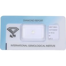 0.19 ct round, brilliant cut diamond, M VS2
