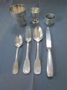 "Christofle series ""Bérain"" - antique cutlery - baptism present - around 1930 - 7 pieces - good condition"