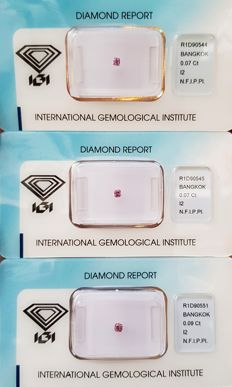 Lot of Natural Diamonds - 0.23 ct - Natural Fancy INTENSE Purplish Pink  ** I2 ** No Reserve Price **