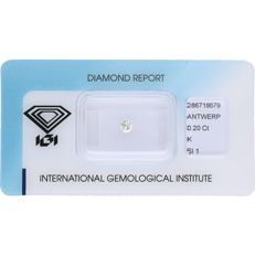 0.20 ct round brilliant cut diamond, K Si1