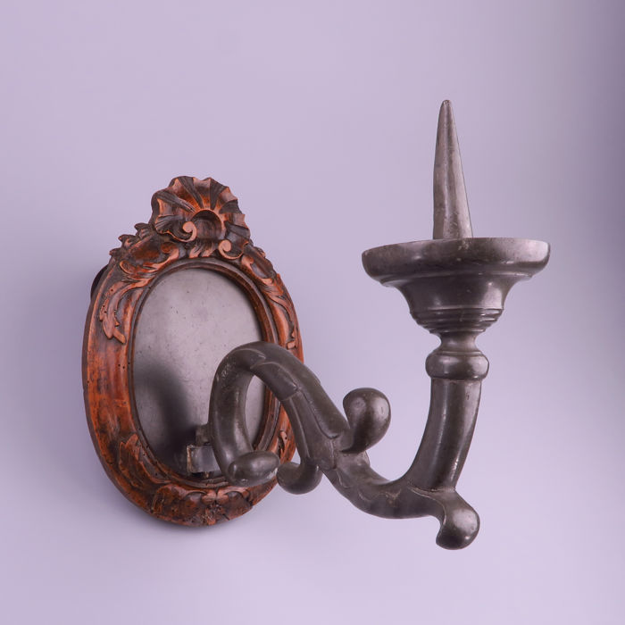 Pewter Wall Sconce With Wooden Frame Belgium Liege 19th