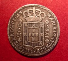 Portugal Monarchy - Maria I and Pedro III (1777-1786) - 12 Vinténs (200 Reis) - 1785 - Silver - Very Rare