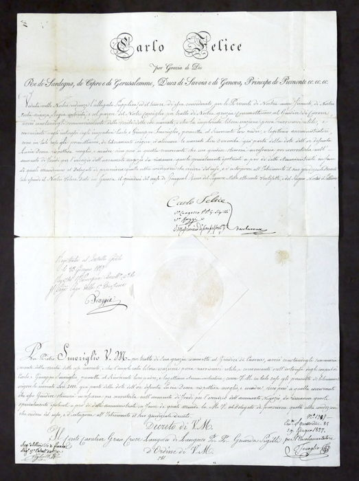 Decree with original signature of the King of Sardinia Carlo Felice - Attached letter of entreaty - 1827