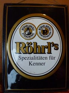 Tin metal sign with embossed designs of the traditional German beer brand Röhrl a speciality by Austrian exporter Kenner - 1970s
