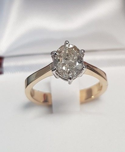 Diamond 585 gold ring 1.25ct (SI2), Ring size: 12