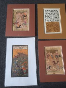 4 Indo-Persian miniatures - India - Second half 20th century