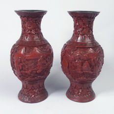 Pair of vases in cinnabar lacquer called Peking lacquer, China, late 19th century or early 20th