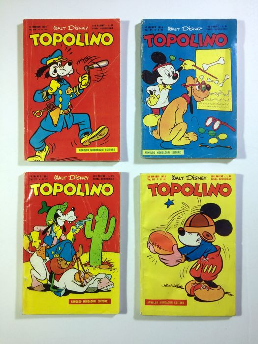 Topolino - 4 albums - issues nos. 84. 86. 87. 91 - 1954