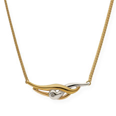 Yellow gold 18 kt - White gold 18 kt - Choker with bi-colour pendant - Brilliant cut diamond of 0.05 ct - Length 42 cm