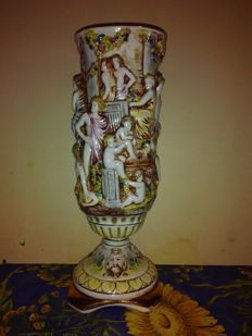 Capodimonte - Ceramic Vase with Human Figures in relief