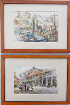 Two watercolours depicting cityscapes, by Nguyen Song Kino - Vietnam - 2000