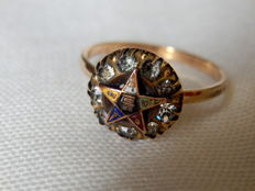 Masonic Order of the Eastern Star 3014K R.G.P.  Edwardian Ring, ca. 1900's