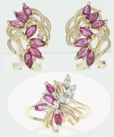 Jewellery, ring and earrings, natural rubies 2.22 ct + diamonds 0.14 ct