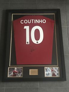 Philippe Coutinho signed framed 2017-2018 Liverpool Fc shirt with photo of the moment of signing and COA