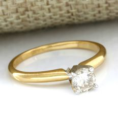 14 kt Yellow Gold 0.42 ct Diamond Ring, Size: 7