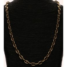 18 kt Yellow gold anchor chain fantasy link necklace - Length: 47 cm